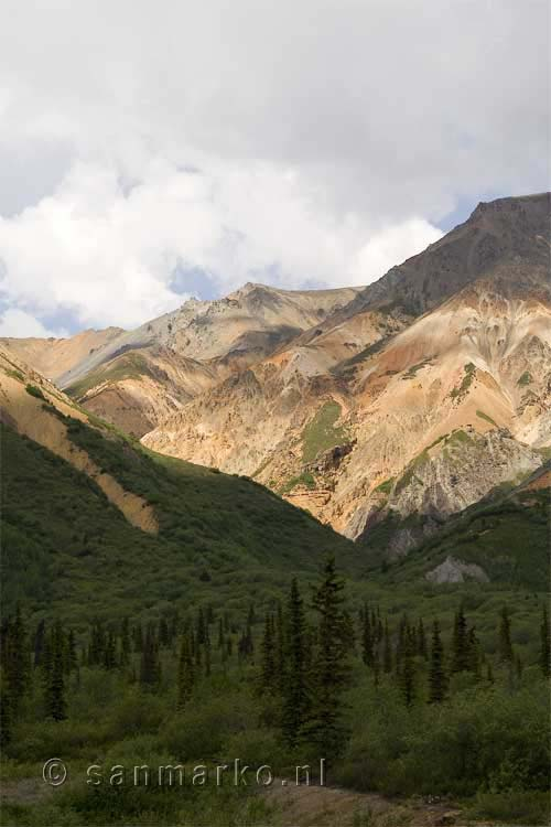 De kleurrijke Sheep Mountain in Alaska