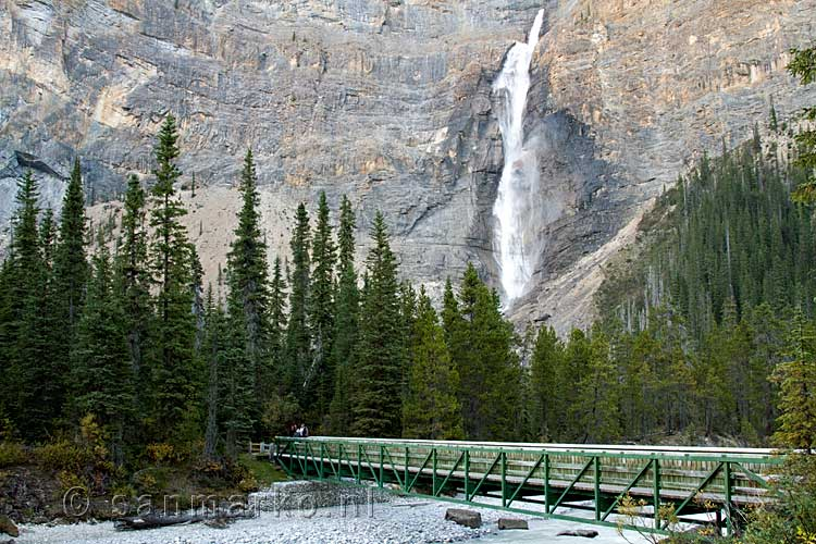 De brug over de rivier naar de Takakkaw Falls in Yoho National Park