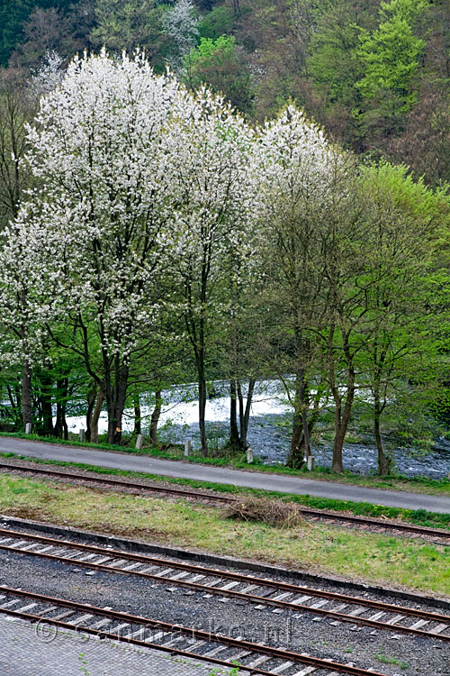 Een stuw in de Wupper in Nordrhein-Westfalen