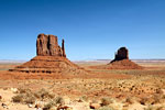 De West en East Mitton Buttes in Monument Valley in Amerika